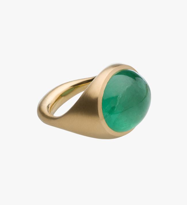 Ring, 900er Gelbgold, sibirischer Smaragd-Cabochon
